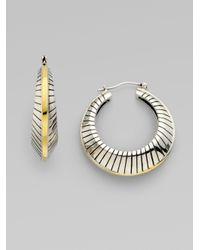 Elizabeth and James Metallic Sterling Silver Fluted Hoop Earrings