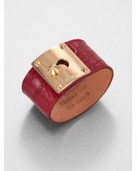 Fendi Red Crocodile Embossed Leather Cuff Bracelet