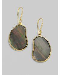 Ippolita Metallic Black Shell 18k Gold Bean Earrings