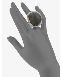 Isaac Mizrahi New York Black Crystal Resin Rock Ring