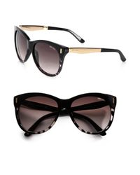 Jimmy Choo Black Plastic Metal Catseye Sunglasses