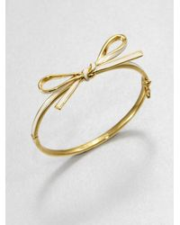 kate spade new york | Metallic Skinny Mini Enamel Bow Bangle Bracelet | Lyst