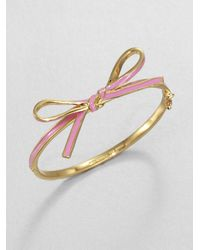 kate spade new york | Metallic Skinny Mini Enamel Bow Bangle Bracelet | Lyst