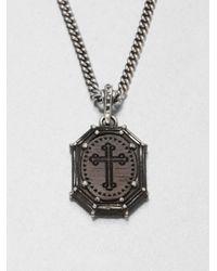 King Baby Studio Metallic Cross Frame Pendant Necklace
