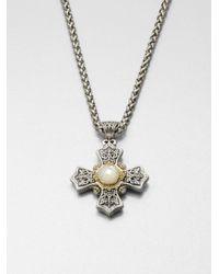 Konstantino | Metallic Motherofpearl 18k Gold Sterling Silver Cross Pendant Necklace | Lyst