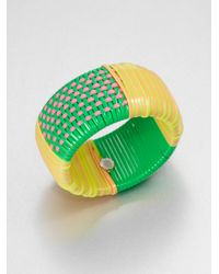 Marc By Marc Jacobs - Multicolored Woven Wide Bangle Bracelet Green - Lyst