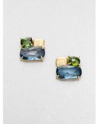 Marco Bicego | Multicolor Murano London Blue Topaz, Green Tourmaline & 18k Yellow Gold Cluster Earrings | Lyst