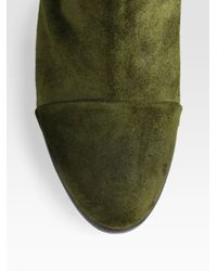 Rag & Bone Green Harrow Suede and Leather Ankle Boots