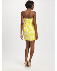 Shoshanna Yellow Strapless Sunflower Dress