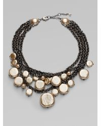 St. John | Metallic Glass Pearl Layered Bib Necklace | Lyst