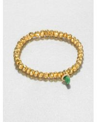 Sydney Evan | Metallic Jade Diamond 14k Yellow Gold Pyrite Beaded Stretch Bracelet | Lyst