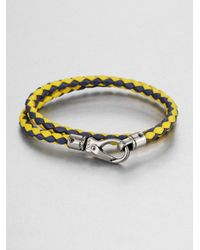 Tod's | Blue Leather Double-wrap Bracelet | Lyst