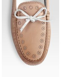 Tod's - Brown Leather Optical Flower Perforated Drivers - Lyst