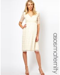 ASOS White Maternity Midi Dress in Lace