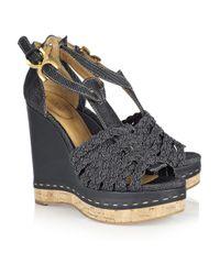 Chloé | Black Denim Wedge Sandals | Lyst