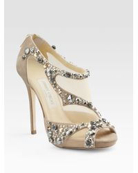d21c1375af5a Lyst - Jimmy Choo Embellished Opentoe Sandals in Metallic