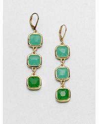 kate spade new york Green Faceted Link Drop Earrings