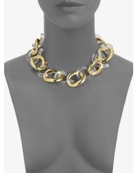 Kenneth Jay Lane - Metallic Resin Polished Link Necklace - Lyst