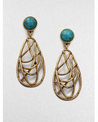 Oscar de la Renta | Metallic Turquoise and Quartz Drop Earrings | Lyst