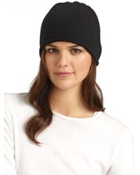 Portolano Black Cashmere Rolled Hem Hat