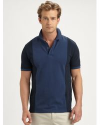 VINCE | Blue Colorblock Polo for Men | Lyst