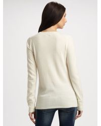 Burberry Brit - Natural Check-accented Cashmere V-neck Sweater - Lyst