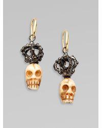 Delfina Delettrez - Metallic Sterling Silver 18k Gold Crowned Bone Skull Earrings - Lyst