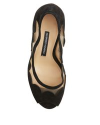 French Connection Black Dream Suede Peep Toe Heels