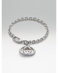 Gucci - Metallic Sterling Silver Double G Charm Bracelet - Lyst