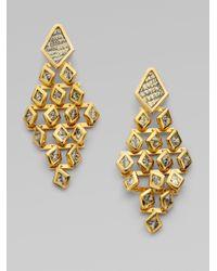 Kara Ross Metallic Dragon Scale Chandelier Earrings