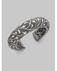 M.c.l  Matthew Campbell Laurenza | Metallic Black Sapphire Pav233 Sterling Silver Leaves Bracelet | Lyst