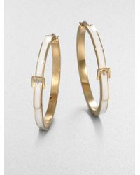 Michael Kors | Metallic White Epoxy Goldtone Steel Hoop Earrings | Lyst