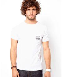 RVCA White Tshirt Vintage Pocket Back Logo for men