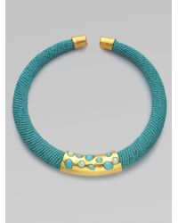 Alexis Bittar Blue Beaded Collar Necklace