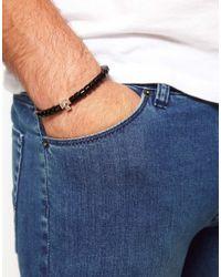 ASOS - Black Beaded Bracelet with Cross for Men - Lyst