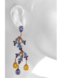 Bijoux Heart Metallic Bali 24karat Goldplated Swarovski Crystal Earrings