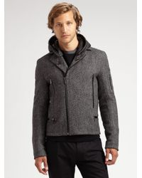 Calvin Klein - Gray Tweed Motorcycle Jacket for Men - Lyst