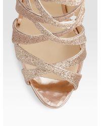 Christian Louboutin | Metallic Balota Glitter Leather Strappy Sandals | Lyst