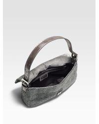 Fendi Gray Beaded Baguette Shoulder Bag