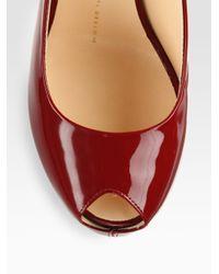 Giuseppe Zanotti Red Patent Leather Slingback Pumps