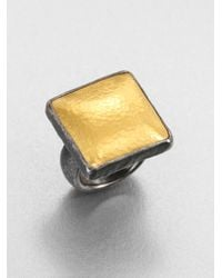 Gurhan | Metallic Amulet 24k Yellow Gold & Blackened Sterling Silver Square Ring | Lyst