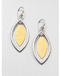 Gurhan | Metallic Willow 24k Yellow Gold & Sterling Silver Marquis Drop Earrings | Lyst