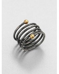 Gurhan | Metallic 24k Yellow Gold & Blackened Sterling Silver Spring Wrap Ring | Lyst