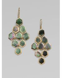 Ippolita | Green 18k Gold Diamond Accented Hexagon Cascade Earrings | Lyst
