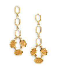 Kara Ross - Metallic Stingray Hexagon Drop Earrings - Lyst