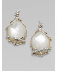 Kara Ross - Motherofpearl White Sapphire Drop Earrings - Lyst