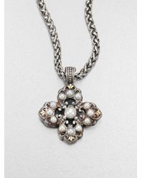 Konstantino Metallic Cultured Pearl Sterling Silver and 18k Yellow Gold Cross Enhancer