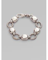 Lagos Metallic Sterling Silver Rock Circle Link Bracelet