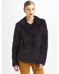 Marc By Marc Jacobs Brown Karina Rabbit Fur Double Breasted Coat
