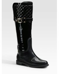 Marina Rinaldi   Black Quilted Rain Boot   Lyst